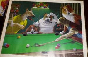 CATS AND DOGS GAMBLING/PLAYING CARDS ETC 3 PICTURES FRAMED