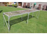 SOLD *** Aluminium Greenhouse Staging with Wooden Slats 8 ft long x 1 ft 9 ins wide *** SOLD