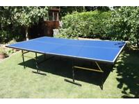 Blue Table Tennis Game Board On Wheels And Collapsible
