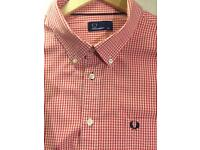 Classic Fred Perry Short-Sleeved Button Down Shirt XXL Red