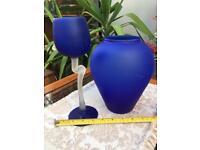 Vintage SUJI DESIGN Matte Cobalt Blue Wine Goblet Glass & Vase