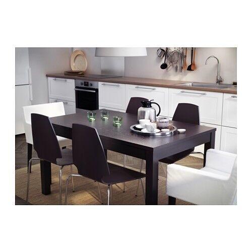 IKEA Bjursta Black/Brown Extendable Dining Table Seats 6 - 10 people comfortably