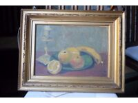 Antique Still Life Oil on Canvas Painting Signed & Dated 1914