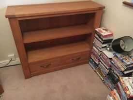 Oak TV Corner unit and matching bookcase and drawers.