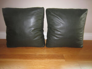 REDUCED  Set of Faux Leather Green Cushions