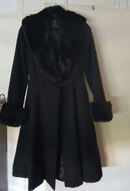 BLACK FUR (SMALL) 'ORIGINAL HELL BUNNY' VINTAGE COAT FOR SALE