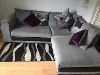 Corner sofa with matching swivel chair