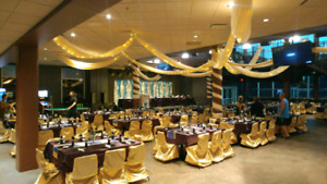 Gold satin chair covers