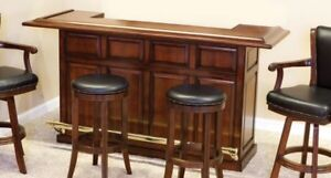 """84"""" bar counter with brass foot rest"""
