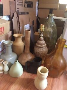 Various lamp bases, vases, pottery