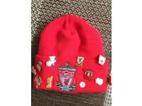 Liverpool Beanie Hat with pin badges included