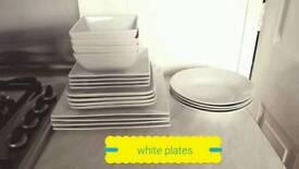 Selection of white plates hardly used