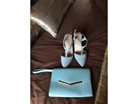 Size 5 mint green shoes and matching bag