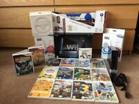 Boxed Black Nintendo Wii + accessories & 17 games