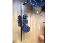 Weights: Barbell and Dumbell Set | 50 kg Weights: 6x 5kg, 4x 2.5kg, 6x 1.25 kg