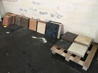 Approx 18 sq mt assorted floor tiles mostly 33cm x 33cm. Ideal for garage floor, ponds, crafts