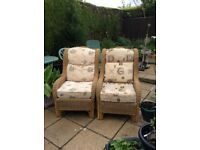 2 Wicker / Cane Chairs with Cushions