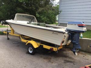 Munro 15 ft. Fiberglass Boat, Motor & Trailer