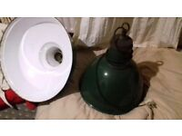 Small green & white vintage lamp