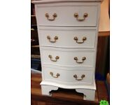 Freshly chubby chiced bow fronted small chest of drawers