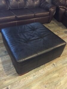 Large leather-like Ottoman