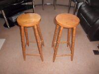 2 Wooden Bar Stools