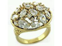 Gold plated Crystal Collection of Rings- Engagement Wedding Gift