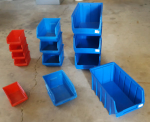 Storage bins.  These can be stacked or hung on wall.