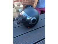 Black Motorcycle Bike City Touring Open Face Jet Helmet