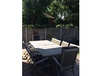 Aged Teak Garden Table with 10 chairs