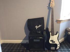 Squier P Bass (black) Starter Pack, 15 Amp Fender; Rumble Amp. Accessories.