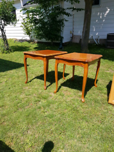 Pair of hardwood end tables.