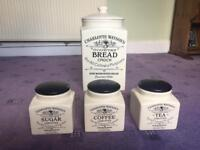 Charlotte Watson's china bread bin and caddie set.