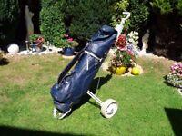 Golf clubs, bag & folding trolley