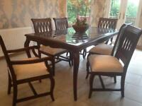 Dining room table with 6 chairs including matching mirror and table
