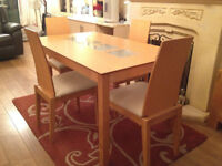 Dining Table With 4 Chairs - Glass Inserts - Great Condition - £200 RRP - Offers Open Thanks
