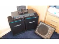 Peavey cabinet speakers and H/H PA system and A K j microphone and fallback speaker