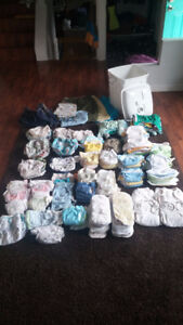 THE MOTHERLODE OF DIAPER LOTS!!! 80+ diapers of all sizes!!