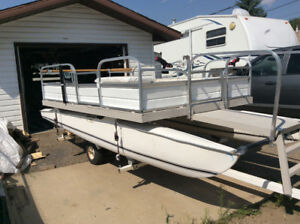 16 foot catamaran converted to pontoon boat