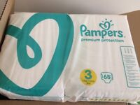 Pampers Premium Protection Nappies - 136 x size 3 nappies (2 unopened packs) - £10