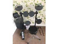 Yamaha drums, amplifier and stool