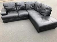 Black full leather corner sofa suite