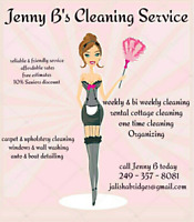 Jenny B's Cleaning Service has weekly & bi weekly spaces avail