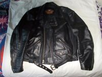 "Genuine Men's Harley Davidson Vintage ""Basic Skin"" Leather Jacket & Chaps"
