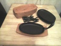 Cast Iron Oval Sizzlers with wooden stands