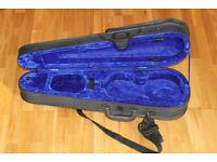 Blue violin case for 1/2 violin