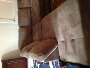 Brown micro suede sectional