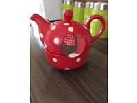 Red and White Polkadot 2 in 1 Teapot and Cup