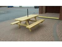 HEAVY DUTY PICNIC TABLES, PRESSURE TREATED 6 X 2 ROUNDED CORNERS