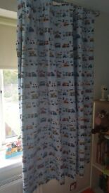 Childrens blackout curtains and lampshade (transport design)